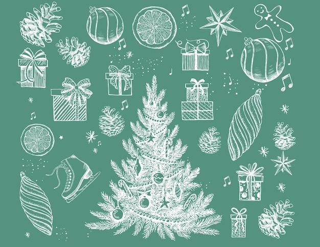 Рождество и новый год набор рисованной иллюстрации