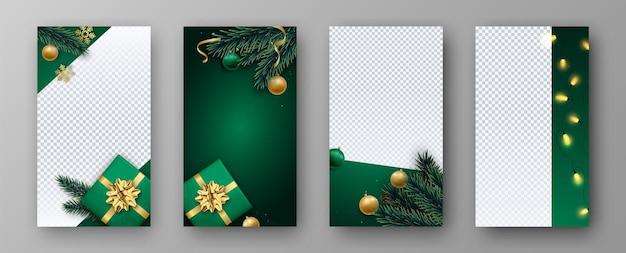 크리스마스와 새해는 소셜 미디어에 대한 이야기 벡터 템플릿을 설정합니다.