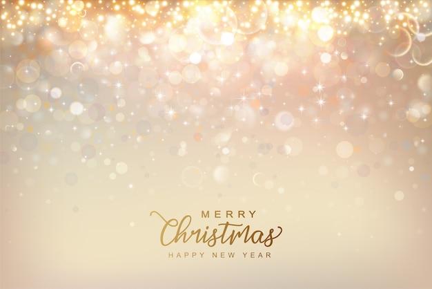 クリスマスと新年の輝く背景