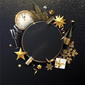 라운드 프레임 황금 크리스마스 장식 선물 샴페인과 시계와 함께 크리스마스와 새 해 반짝 템플릿