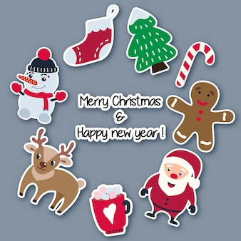 Рождественские и новогодние наклейки