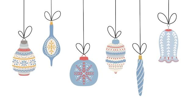 크리스마스와 새 해 기호입니다. 귀여운 크리스마스 트리 장난감 컬렉션입니다. 디자인 요소