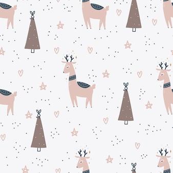 Рождественские и новогодние символы дерево и олени скандинавские рисованной бесшовные модели. вектор милый принт. цифровая бумага. элемент дизайна.