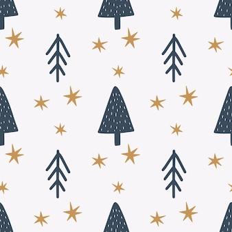 Рождество и новый год символы дерева бесшовные модели. вектор милый принт. цифровая бумага. элемент дизайна.
