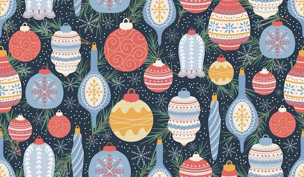 크리스마스와 새 해 기호 벡터 원활한 패턴 디지털 종이 디자인 요소