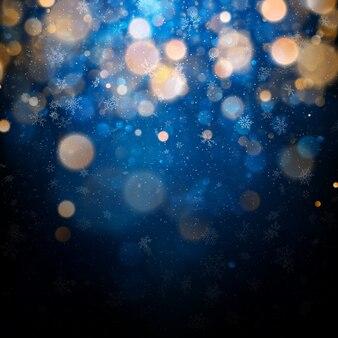 白いぼやけた雪、まぶしさ、青の背景に輝くクリスマスと新年のテンプレート。