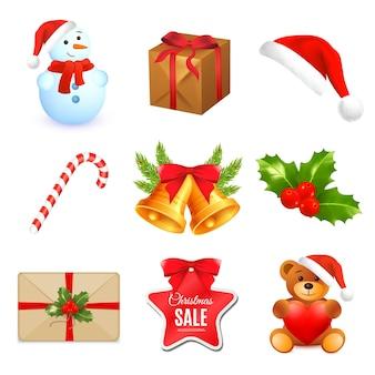 Набор рождественских и новогодних игрушек. праздничные украшения зимнего сезона. векторная иллюстрация