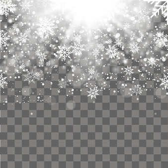 Christmas and New Year transparent background with falling gold snowflakes