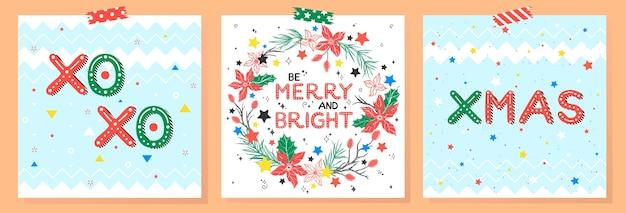 Рождество и новый год типография. набор праздничных открыток с поздравлением, венок, снежинки.
