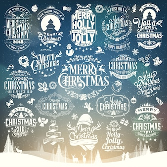 Christmas And New Year Vector Set Background With Typography