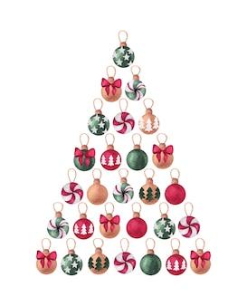 松の木のボールとクリスマスと新年の水彩デザイン