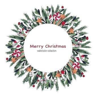 クリスマスと新年の水彩フレーム Premiumベクター