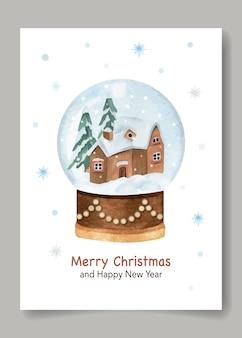 Рождественская и новогодняя акварельная открытка со снежным шаром и снежинкой