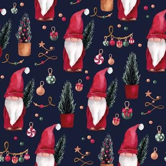 クリスマスと新年の水彩画のシームレスなパターンとかわいいノームとかわいいノーム、そして松の木 Premiumベクター