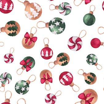 松の木のボールとクリスマスと新年の水彩画のシームレスなパターン