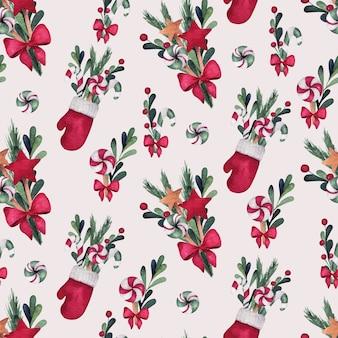 クリスマスと新年の水彩画のシームレスなパターン、靴下、花束、ミトン