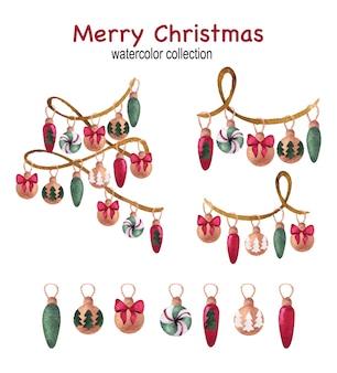 Рождественский и новогодний акварельный набор с гирляндой и шарами