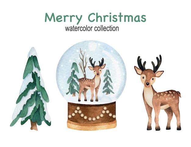 松の木、雪玉の地球儀、鹿がセットされたクリスマスと新年の水彩画