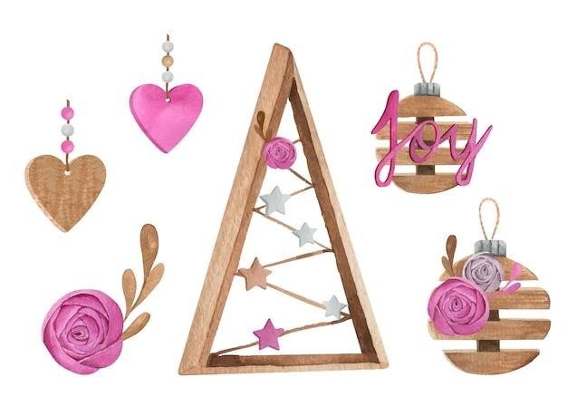 ピンクと木製の装飾が施されたクリスマスと新年の水彩画セット