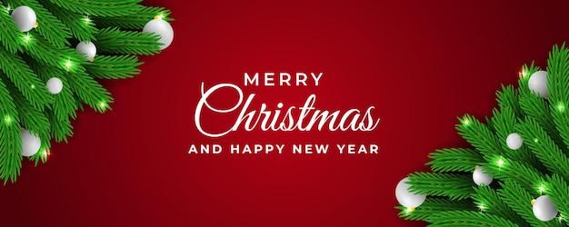 크리스마스와 새 해 웹 배너 빨간색 배경 벡터
