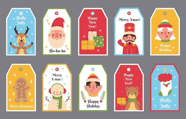 크리스마스와 새해 겨울 방학 선물 태그. 메리 크리스마스 산타, 곰, 순록, 눈사람 레이블 벡터 일러스트레이션 세트. 크리스마스 선물 상자 태그