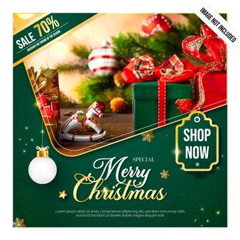Рождество и новый год с зеленым рекламным плакатом
