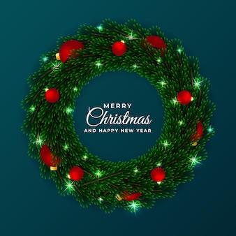 크리스마스와 새해 화환 원형 프레임 템플릿