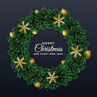 녹색 잎 크리스마스와 새 해 화 환 라운드 프레임 템플릿