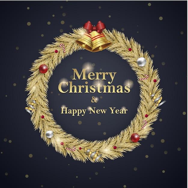 クリスマスと新年の花輪の正方形のソーシャルメディアは、招待イベントblavkゴールドの広告を投稿します