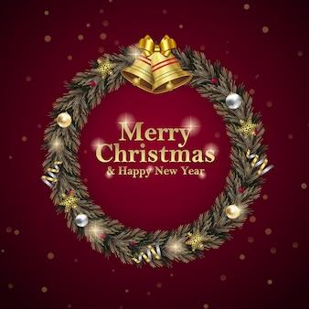 クリスマスと新年の花輪の正方形のソーシャルメディアは、赤の招待イベントの広告を投稿します