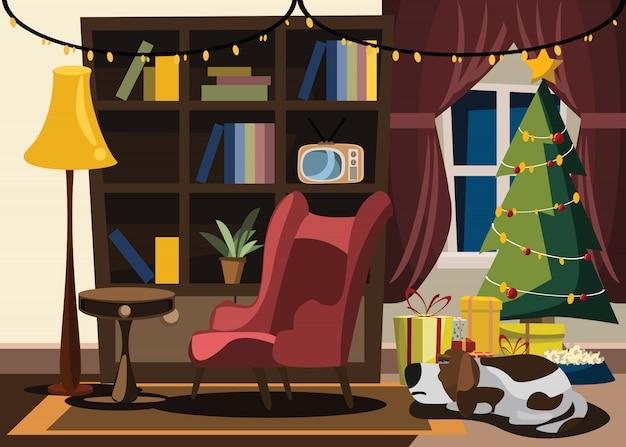 クリスマスと新年、リビングルーム、ベクトル、イラスト