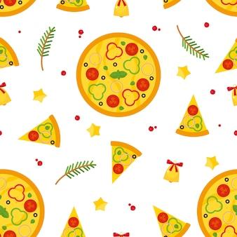 ピザ、ピザのスライス、食材を使ったクリスマスと新年のシームレスなパターン。