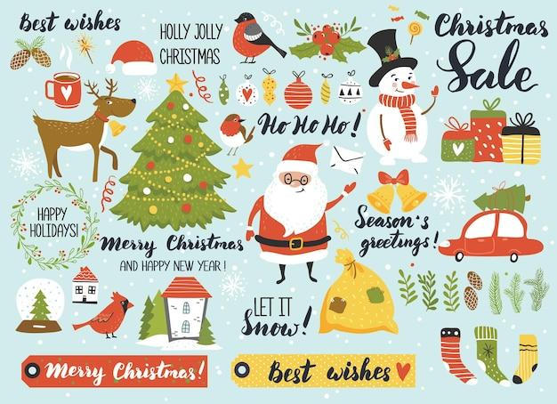 산타 눈사람 사슴 furtree 서예와 크리스마스와 새해 설정