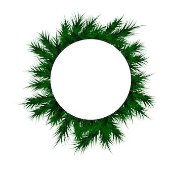 Рождество и новый год. `с новым годом. крышка с белой этикеткой и зелеными еловыми ветками. еловая ветка для текста.
