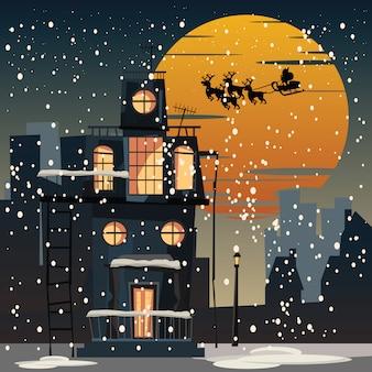 Christmas and Santa Claus in city at night vector illustration