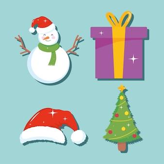 Рождество и снеговик значок на синем фоне, красочный дизайн