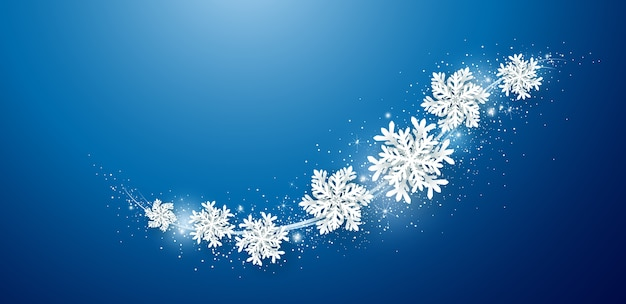 Рождество и зимний фон дизайн снежинки.