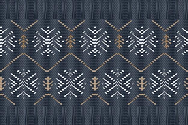 格子縞のセーターデザインのクリスマスと冬の休日の編みパターン。シームレスなパターン。