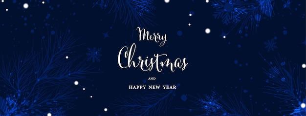 青い背景の上のクリスマスと冬の水彩抽象芸術。手描きの水彩画で降る雪の松の枝。ヘッダーデザイン、バナー、カバー、ウェブ、カード、または壁の装飾に適しています。