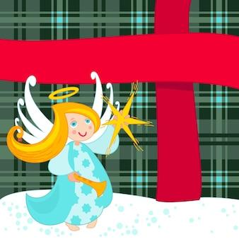 Christmas angel and big present, vector