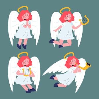 Collezione di angeli natalizi in design piatto