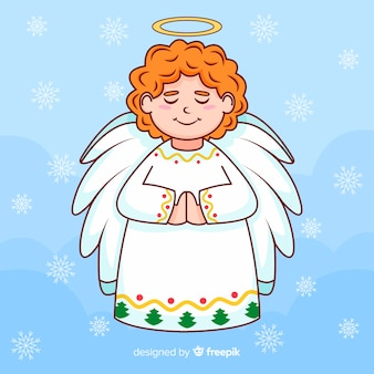 Christmas angel concept in hand drawn