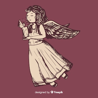 Christmas angel concept with vintage design