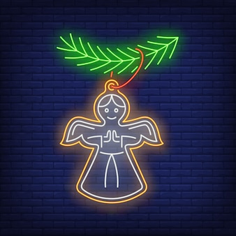 Christmas angel cookie in neon style
