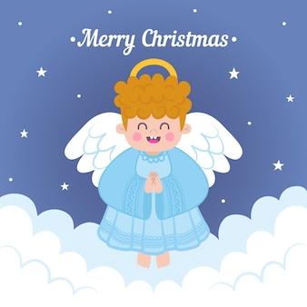 Christmas angel in flat design