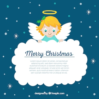 Christmas angel holding a big cloud
