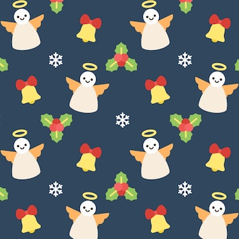 Christmas angel seamless pattern background