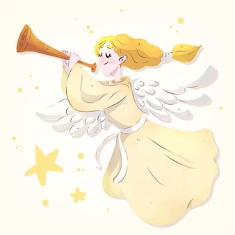 Christmas angel watercolor illustration