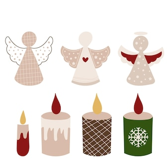 Christmas angels and candles clipart. vector illustration.