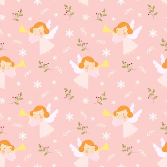 Christmas angels play trumpet seamless pattern.
